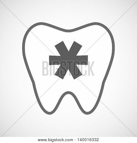 Isolated Line Art Tooth Icon With An Asterisk
