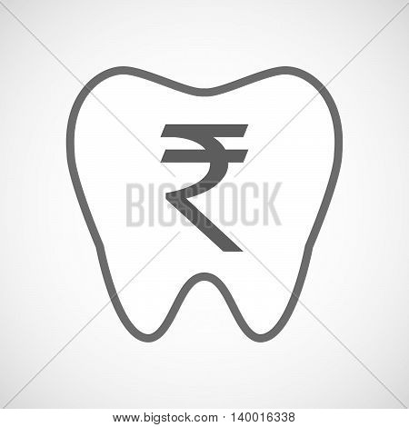 Isolated Line Art Tooth Icon With A Rupee Sign
