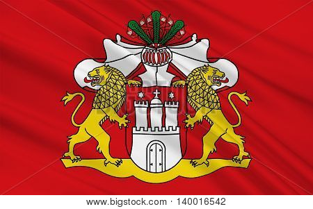 Flag of Free and Hanseatic City of Hamburg is the second largest city in Germany. 3d illustration