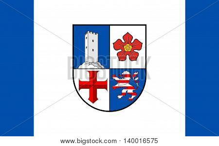 Flag of Bergstrasse (Mountain Road) is a district in the south of Hesse Germany. 3d illustration
