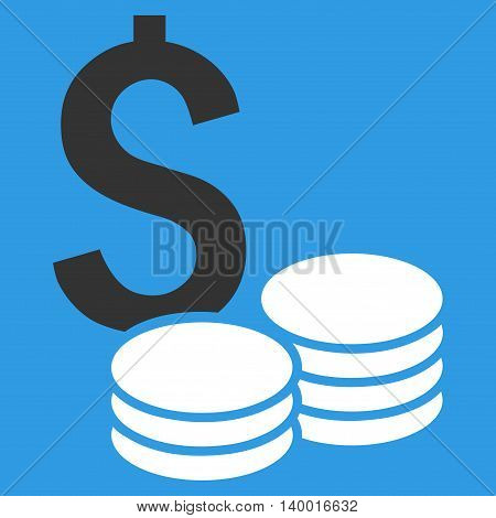 Dollar Cash vector icon. Style is flat symbol, white color, blue background.
