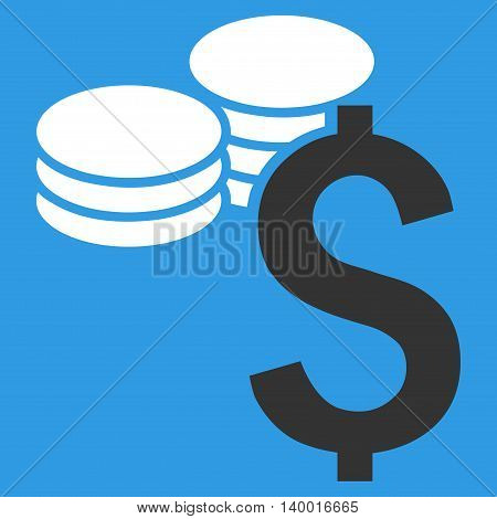 Dollar Coins vector icon. Style is flat symbol, white color, blue background.