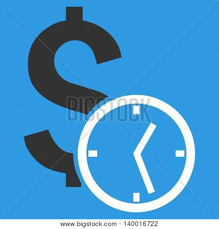 Dollar Credit vector icon. Style is flat symbol, white color, blue background.