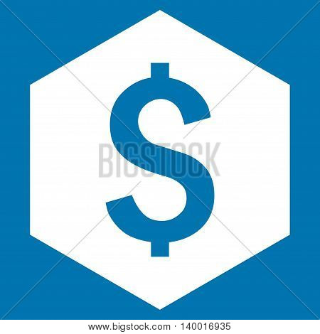 Dollar Hexagon vector icon. Style is flat symbol, white color, blue background.