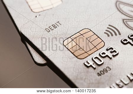 Samara, Russia-july 25.2016: Debit Visa Credit Card Chip Sign Contactless Payment
