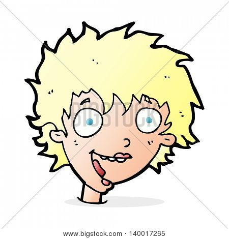 cartoon crazy excited woman