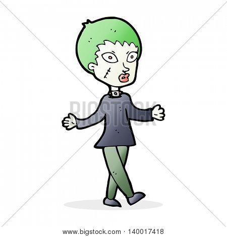 cartoon halloween zombie woman