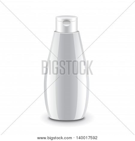 Cosmetic plastic bottle for shampoo gel or soap isolated on white photo-realistic vector