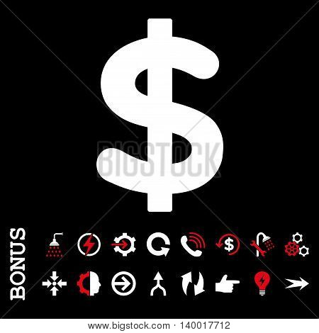 Dollar vector bicolor icon. Image style is a flat iconic symbol, red and white colors, black background.