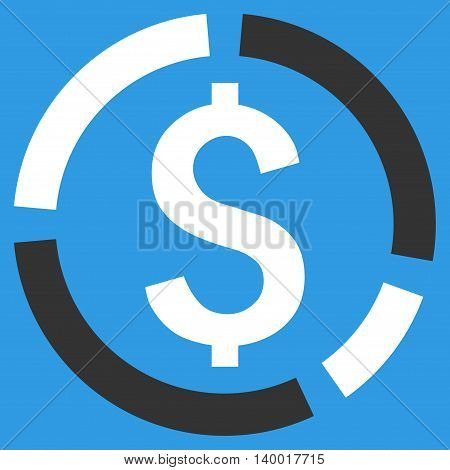 Financial Diagram vector icon. Style is flat symbol, white color, blue background.
