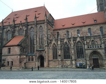 Germany, October 18, 2015, Nuremberg, Bavaria, Lateral wall of the St. Sebaldus Church