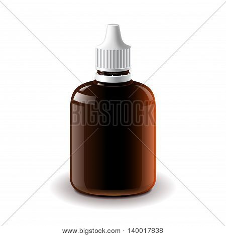 Medical dark plastic bottle isolated on white photo-realistic vector illustration