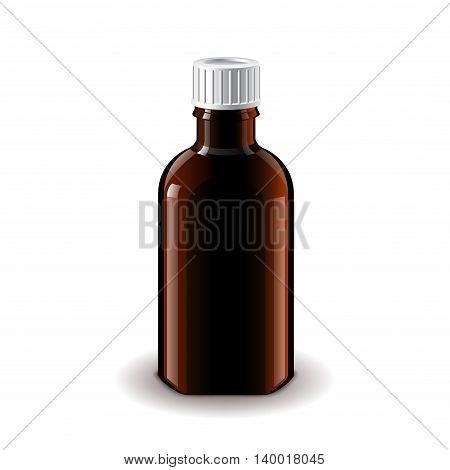 Medical dark glass bottle for balm isolated on white photo-realistic vector illustration