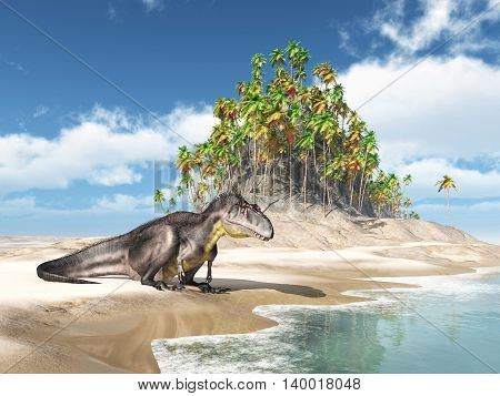 Computer generated 3D illustration with the dinosaur Tyrannotitan at the beach