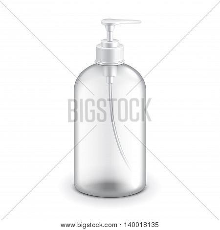 Transparent cosmetic plastic bottle with dispenser pump for shampoo or soap vector