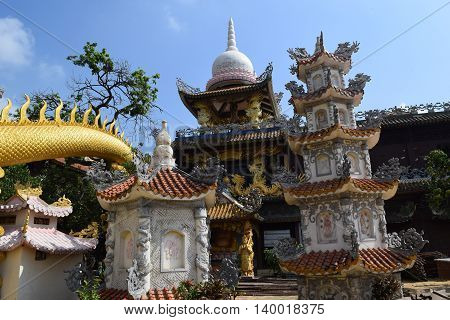 Chau Thoi temple aerial view in Binh Duong province, Vietnam