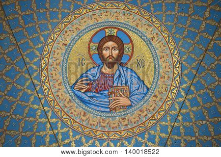 SAINT PETERSBURG, RUSSIA - JUNE 19, 2016: The image of Jesus Christ on the inside of the dome in the St. Nicholas naval Cathedral. Religious landmark  of the Kronstadt