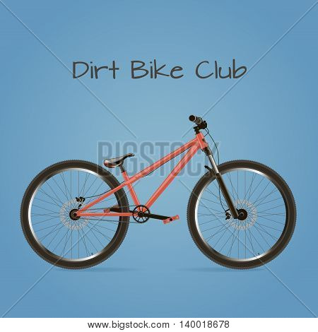 Sports bike. Detached with text on a blue background.