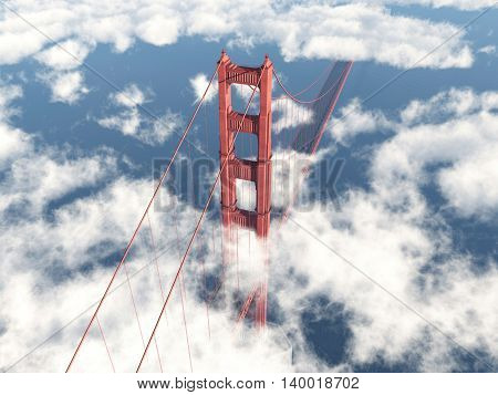Computer generated 3D illustration with the Golden Gate Bridge in San Francisco