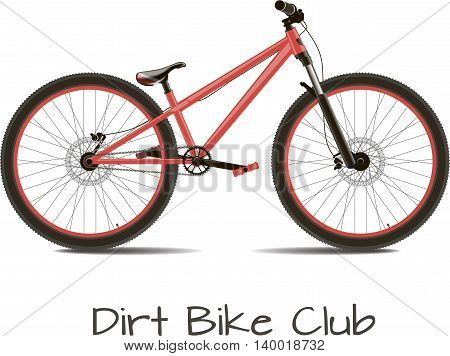 Dirt bike club. Bike detached on a white background with the text.