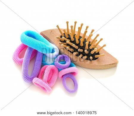 Wooden Brush And Rubber Bands For Hair.