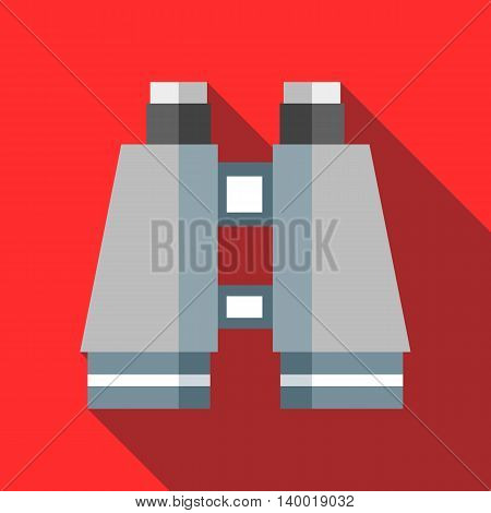 Binocular icon in flat style on a red background