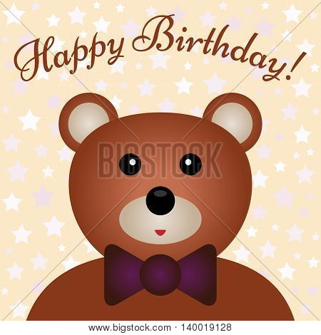 Congratulations to the birthday child. Color card with bear muzzle and text with a wish. Background with pale stars.