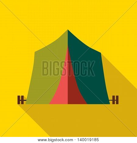 Green tent icon in flat style on a yellow background