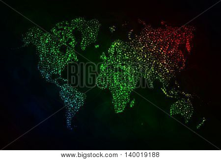 Map Illustration Icon, Gradient Color Lights Silhouette on Dark Background. Glowing Lines and Points
