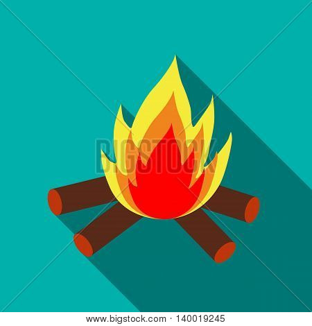 Campfire icon in flat style on a turquoise background