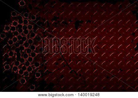 shotgun bullet hole on red diamond plate. metal background. 3d illustration.