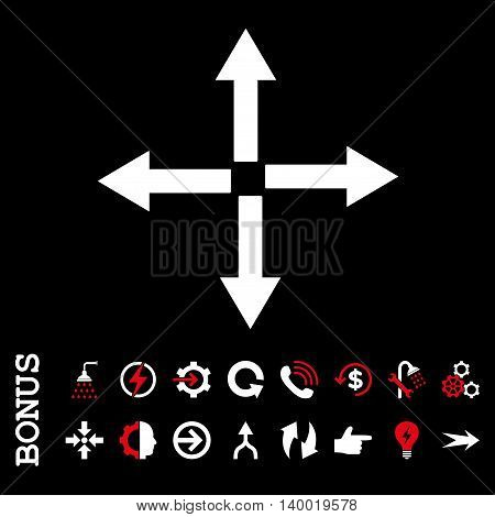 Expand Arrows vector bicolor icon. Image style is a flat pictogram symbol, red and white colors, black background.