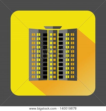 Multistory building icon in flat style on a yellow background