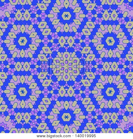 Creative Ornamental Blue Pattern. Geometric Decorative Background