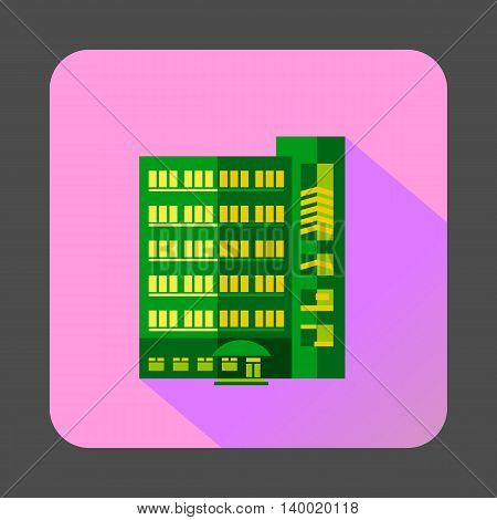 Green multistory building icon in flat style on a pink background