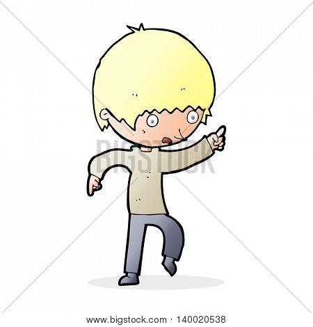cartoon worried boy pointing