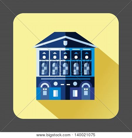 Blue building with checkered windows icon in flat style on a pale yellow background