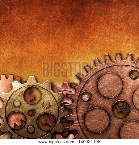 copper and brass gears on the gold metallic wall. 3d illustration. material design. vintage style background.