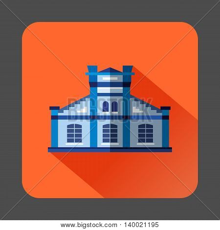 Blue public building icon in flat style on a orange background