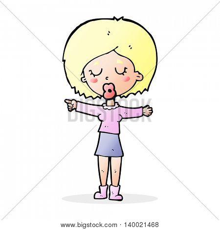 cartoon pointing woman