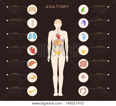 Dark medical poster with an image of internal organs. The organs are made in separate areas as icons, and in the middle of the poster is assembled together.
