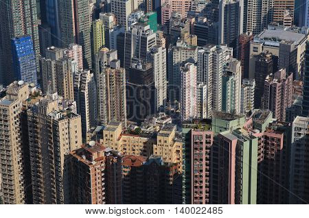 Dense architecture in the city centre of Hong Kong.