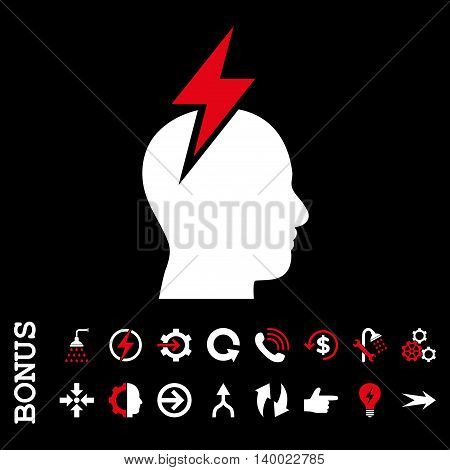 Headache vector bicolor icon. Image style is a flat pictogram symbol, red and white colors, black background.