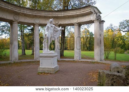 SAINT PETERSBURG, RUSSIA - OCTOBER 06, 2015: October evening on the colonnade of Apollo. Historical landmark of the Pavlovsk, Russia