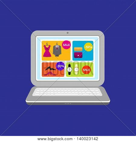 Icon for mobile marketing and online shopping. Internet shopping icon. Open laptop with special offer sign. Isolated on a dark background.