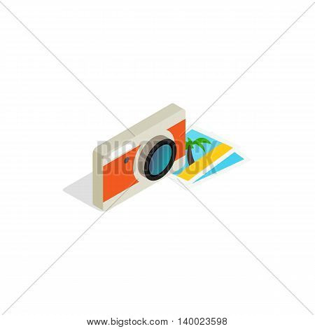 Camera and photos icon in isometric 3d style on a white background