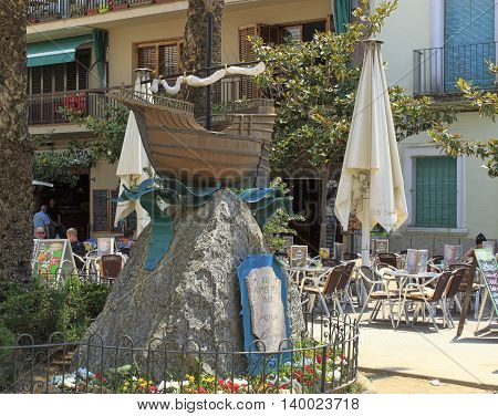 Mini-ship Mounted On A Pedestal In A Street Of Calella