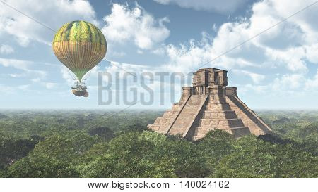 Computer generated 3D illustration with Mayan temple and fantasy hot air balloon