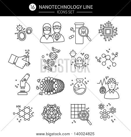 Nanotechnology linear icons set with robots electronics particles medicine microscope fiber tube molecules professionals isolated vector illustration