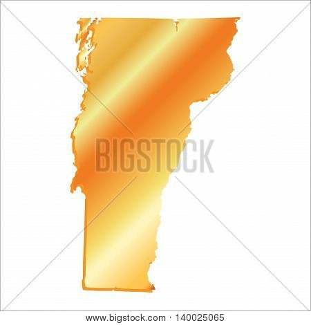 3D Vermont (USA) Gold outline map with shadow